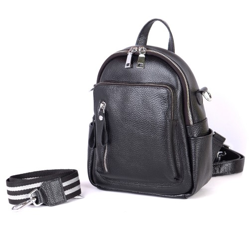 Женский кожаный рюкзак B070101-black черный