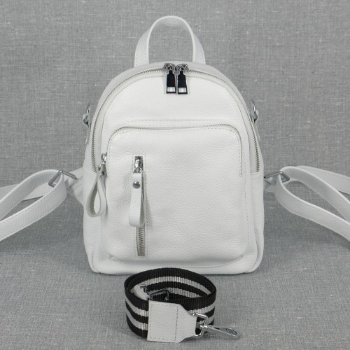 Женский кожаный рюкзак B070105-white белый