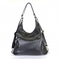Женский кожаный рюкзак-трансформер B530101-black черный