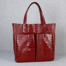 Сумка кожаная женская S020203-red кайман красная
