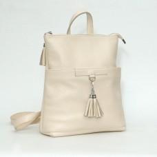 Женский кожаный рюкзак-трансформер B050104-beige бежевый
