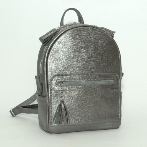 Женский кожаный рюкзак B020115-nikel никель