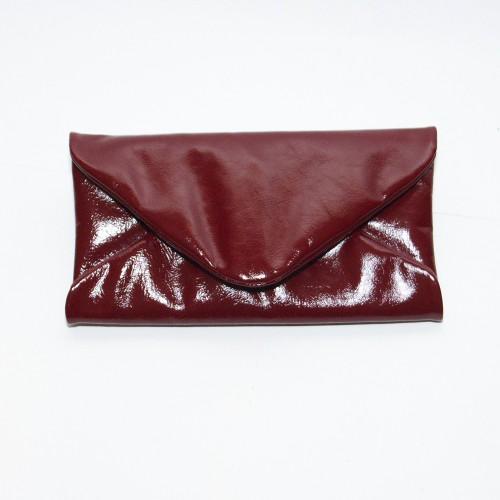 Женский клатч кожаный K020420-bordo наплак бордо
