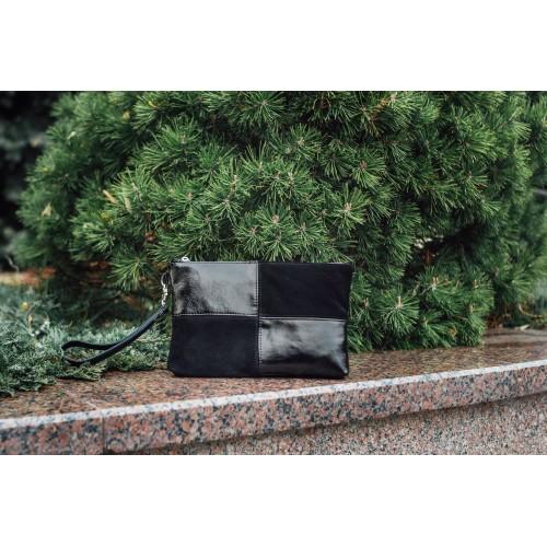 Женский клатч кожаный K030601-black замш наплак