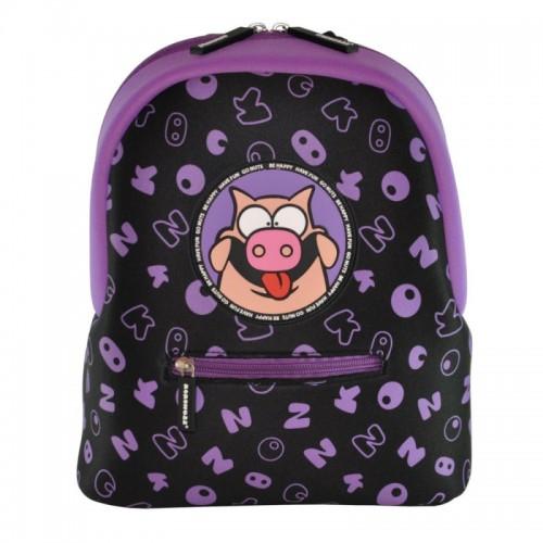 Рюкзак дошкольный KOKONUZZ-BE HAPPY со свиньей черный с фиолетовым