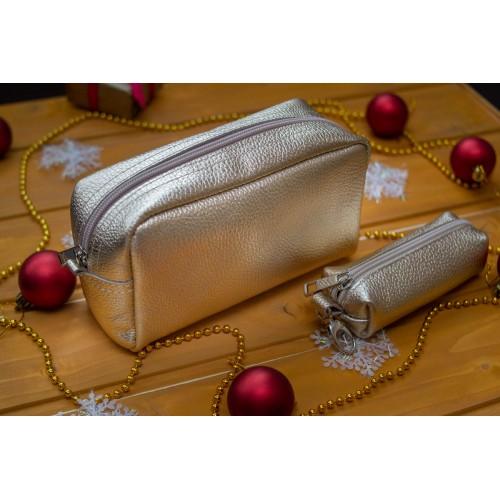 Женская косметичка кожаная CB030110-zoloto золото