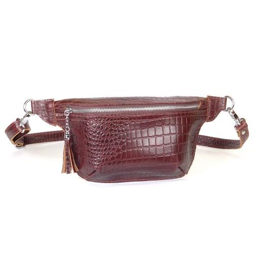 Поясная сумка женская WB010202-brown кайман коричневая
