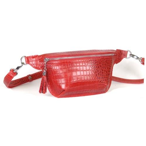 Поясная сумка женская WB010203-red кайман красная