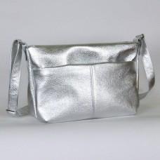 Сумка кожаная женская через плечо S460107-silver серебро