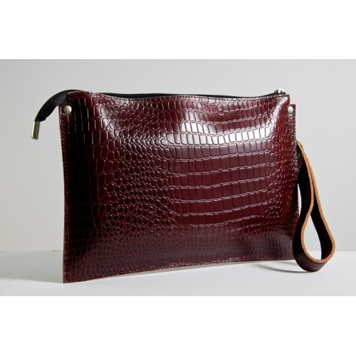 Женский клатч кожаный K010202-brown кайман коричневый