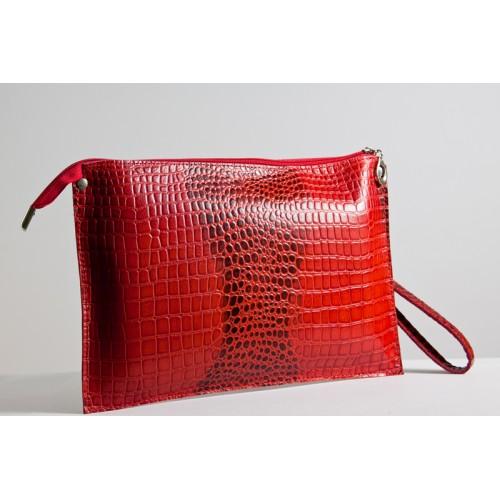 Женский клатч кожаный K010203-red кайман красный