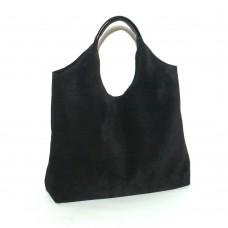 Сумка кожаная женская S150501-black замш черная