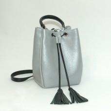Сумка кожаная женская S250171-grayblack серебристо-черная
