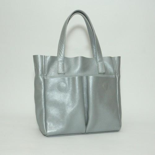 Сумка кожаная женская S020107-silver серебро